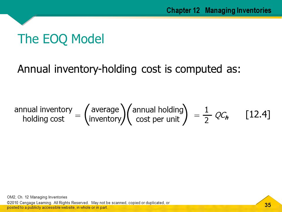 ( ) The EOQ Model Annual inventory-holding cost is computed as: [12.4]